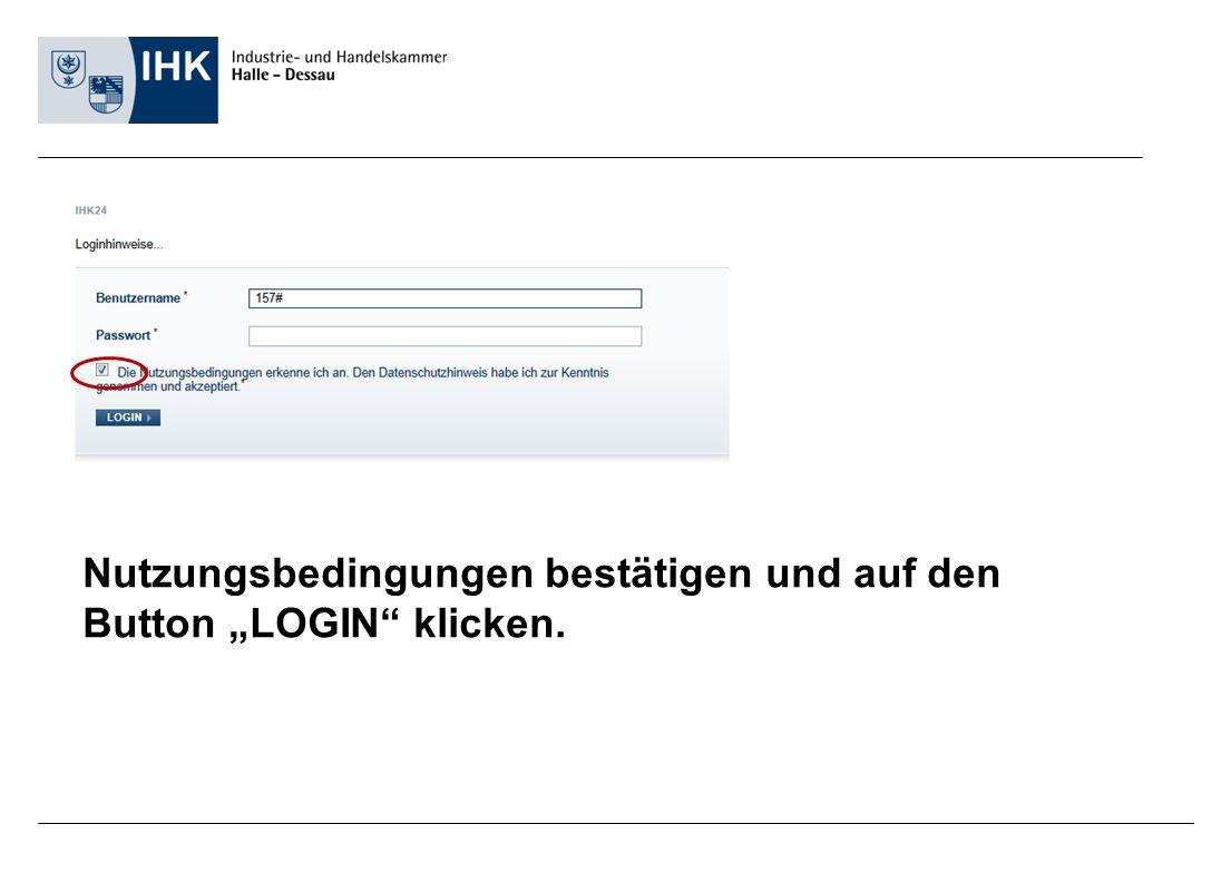 """Nutzungsbedingungen bestätigen und auf den Button """"LOGIN"""" klicken."""