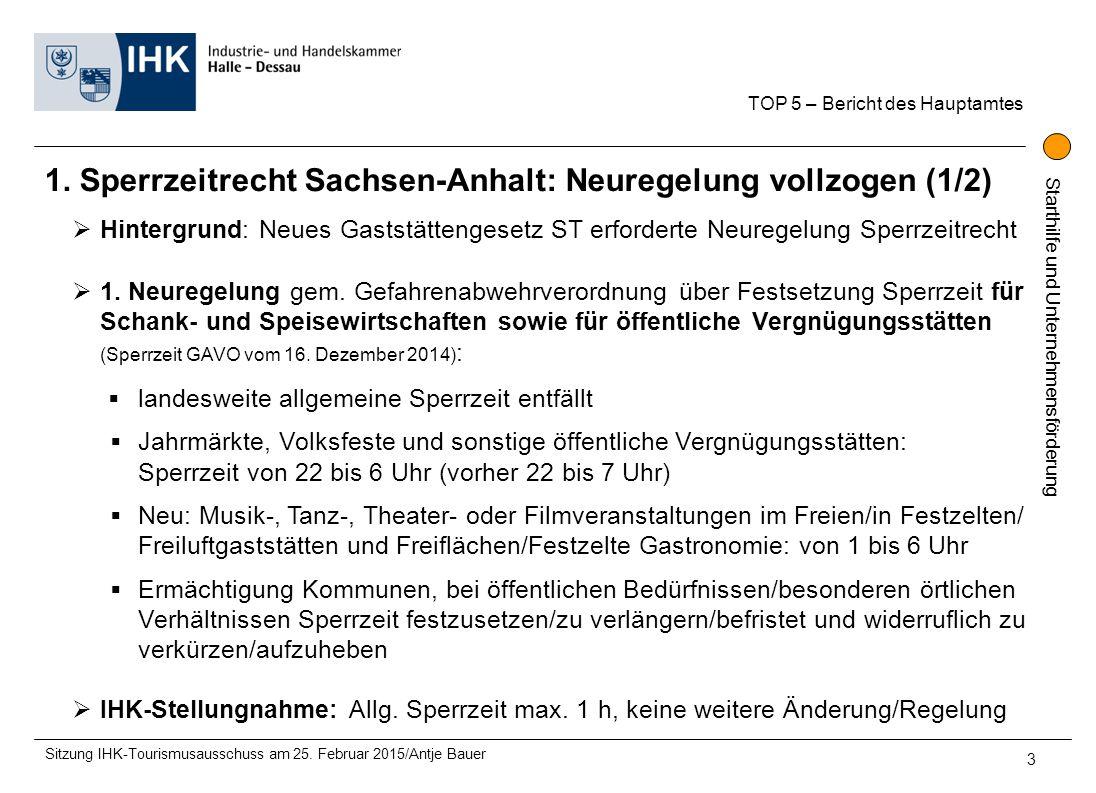 Starthilfe und Unternehmensförderung 1. Sperrzeitrecht Sachsen-Anhalt: Neuregelung vollzogen (1/2) TOP 5 – Bericht des Hauptamtes Sitzung IHK-Tourismu