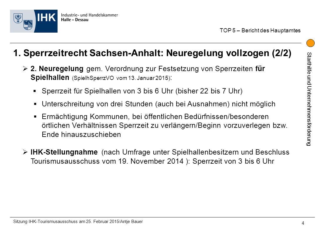 Starthilfe und Unternehmensförderung 1. Sperrzeitrecht Sachsen-Anhalt: Neuregelung vollzogen (2/2) TOP 5 – Bericht des Hauptamtes Sitzung IHK-Tourismu