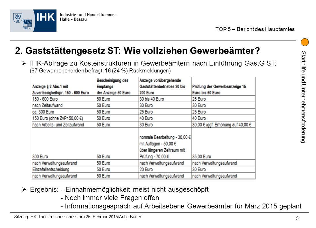 Starthilfe und Unternehmensförderung 2. Gaststättengesetz ST: Wie vollziehen Gewerbeämter? TOP 5 – Bericht des Hauptamtes 5  IHK-Abfrage zu Kostenstr