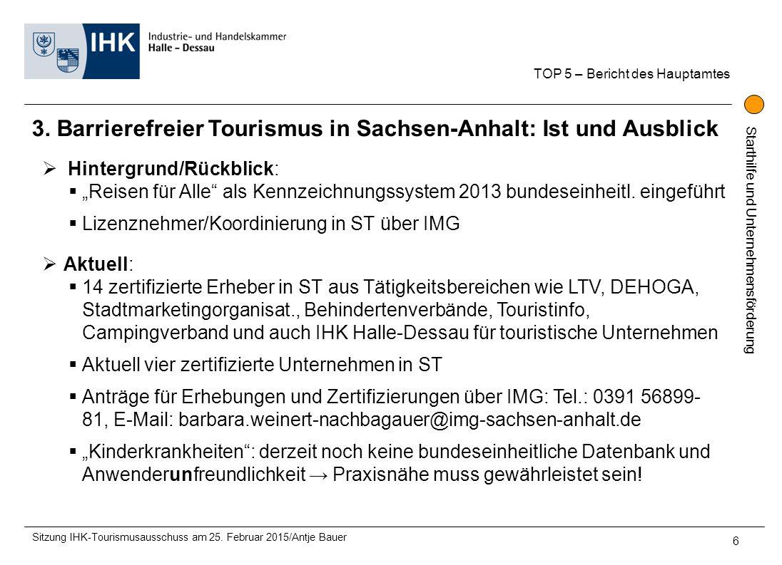 Starthilfe und Unternehmensförderung 3. Barrierefreier Tourismus in Sachsen-Anhalt: Ist und Ausblick TOP 5 – Bericht des Hauptamtes Sitzung IHK-Touris