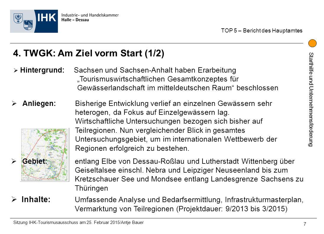 Starthilfe und Unternehmensförderung 4. TWGK: Am Ziel vorm Start (1/2) TOP 5 – Bericht des Hauptamtes Sitzung IHK-Tourismusausschuss am 25. Februar 20