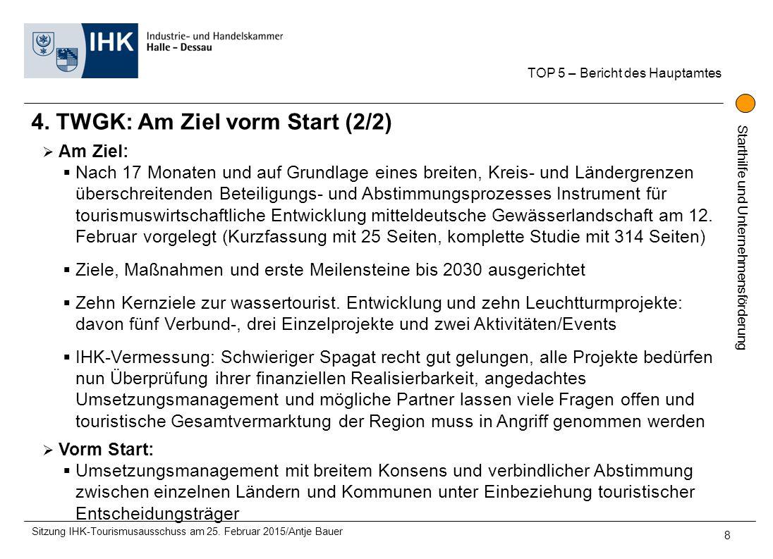 Starthilfe und Unternehmensförderung 4. TWGK: Am Ziel vorm Start (2/2) TOP 5 – Bericht des Hauptamtes Sitzung IHK-Tourismusausschuss am 25. Februar 20