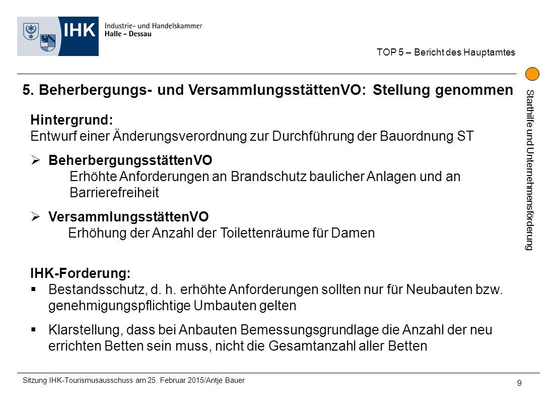 """Starthilfe und Unternehmensförderung 6.""""Verbandsförderung Tourismus Sachsen-Anhalt: Wie weiter."""