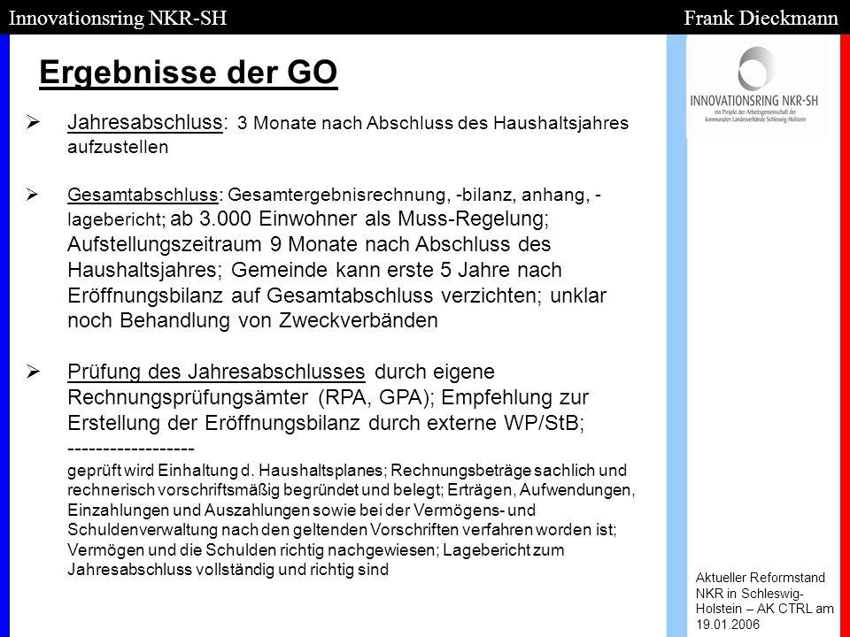Ergebnisse der GO Aktueller Reformstand NKR in Schleswig- Holstein – AK CTRL am 19.01.2006 Innovationsring NKR-SH Frank Dieckmann   Jahresabschluss: