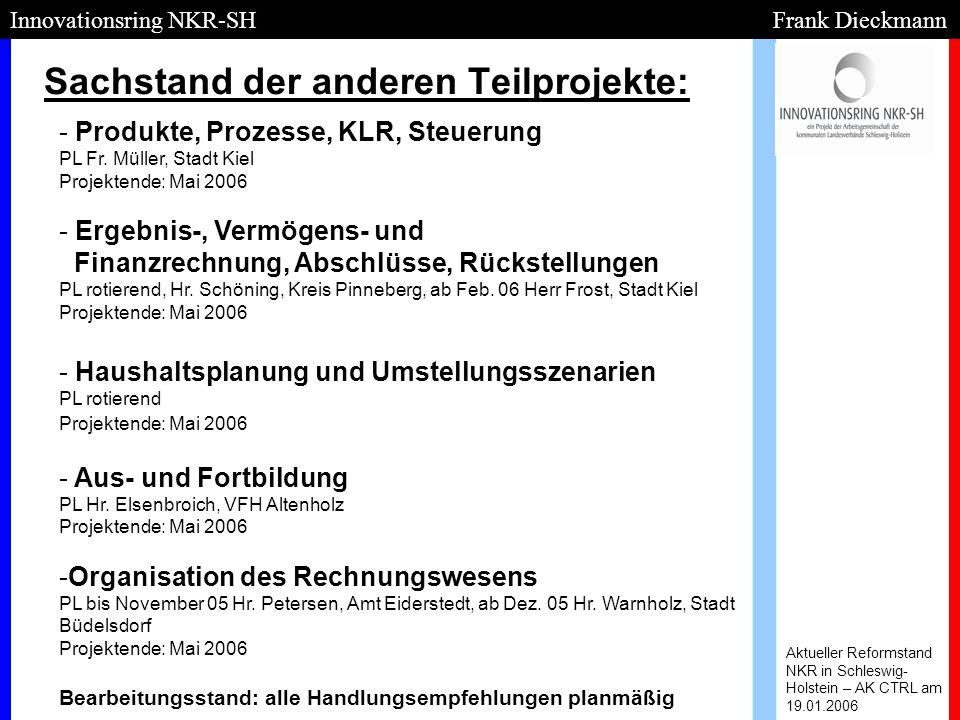Sachstand der anderen Teilprojekte: Aktueller Reformstand NKR in Schleswig- Holstein – AK CTRL am 19.01.2006 Innovationsring NKR-SH Frank Dieckmann -