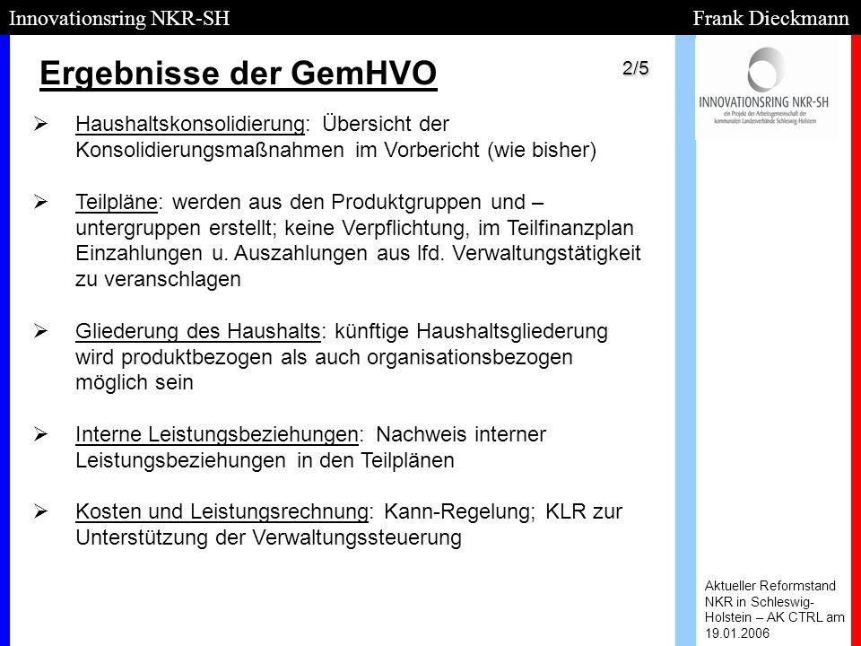 Ergebnisse der GemHVO Aktueller Reformstand NKR in Schleswig- Holstein – AK CTRL am 19.01.2006 Innovationsring NKR-SH Frank Dieckmann   Haushaltskon