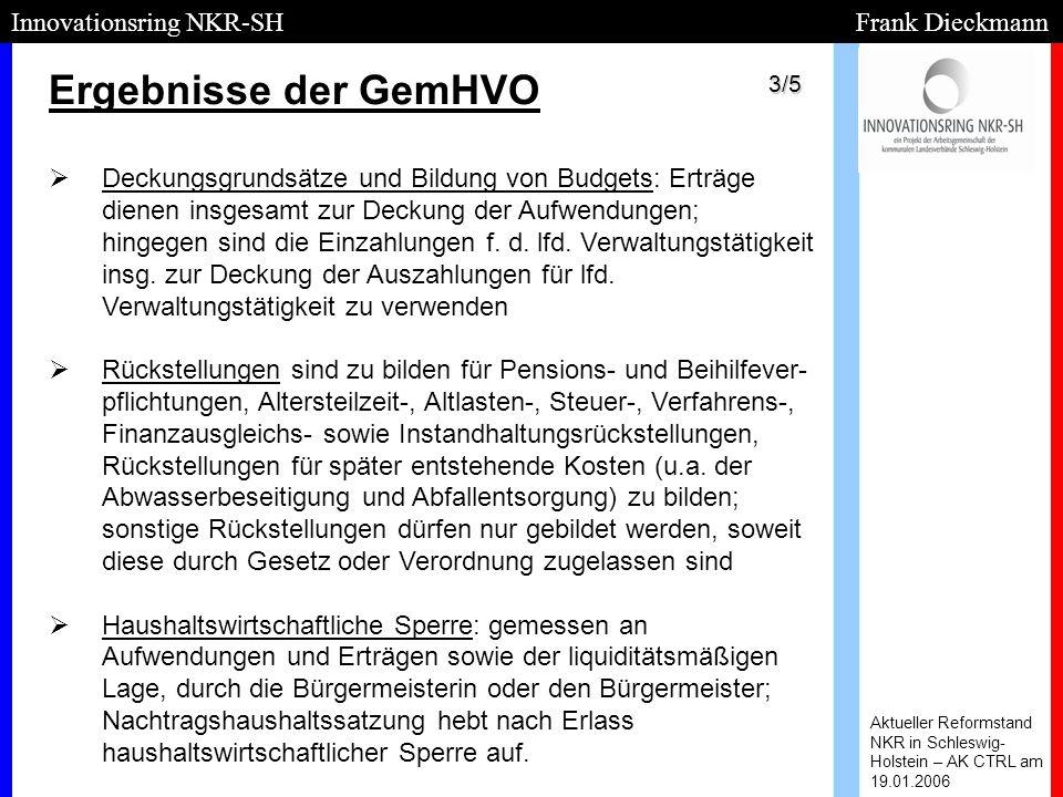 Ergebnisse der GemHVO Aktueller Reformstand NKR in Schleswig- Holstein – AK CTRL am 19.01.2006 Innovationsring NKR-SH Frank Dieckmann   Deckungsgrun