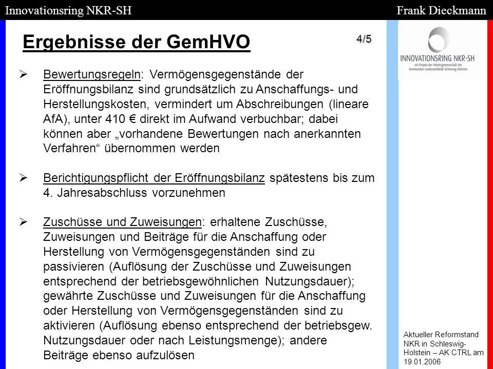 Ergebnisse der GemHVO Aktueller Reformstand NKR in Schleswig- Holstein – AK CTRL am 19.01.2006 Innovationsring NKR-SH Frank Dieckmann   Bewertungsre