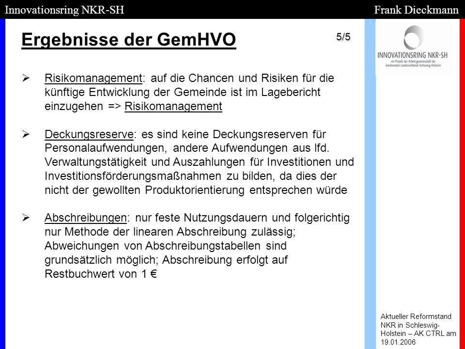 Ergebnisse der GemHVO Aktueller Reformstand NKR in Schleswig- Holstein – AK CTRL am 19.01.2006 Innovationsring NKR-SH Frank Dieckmann   Risikomanage