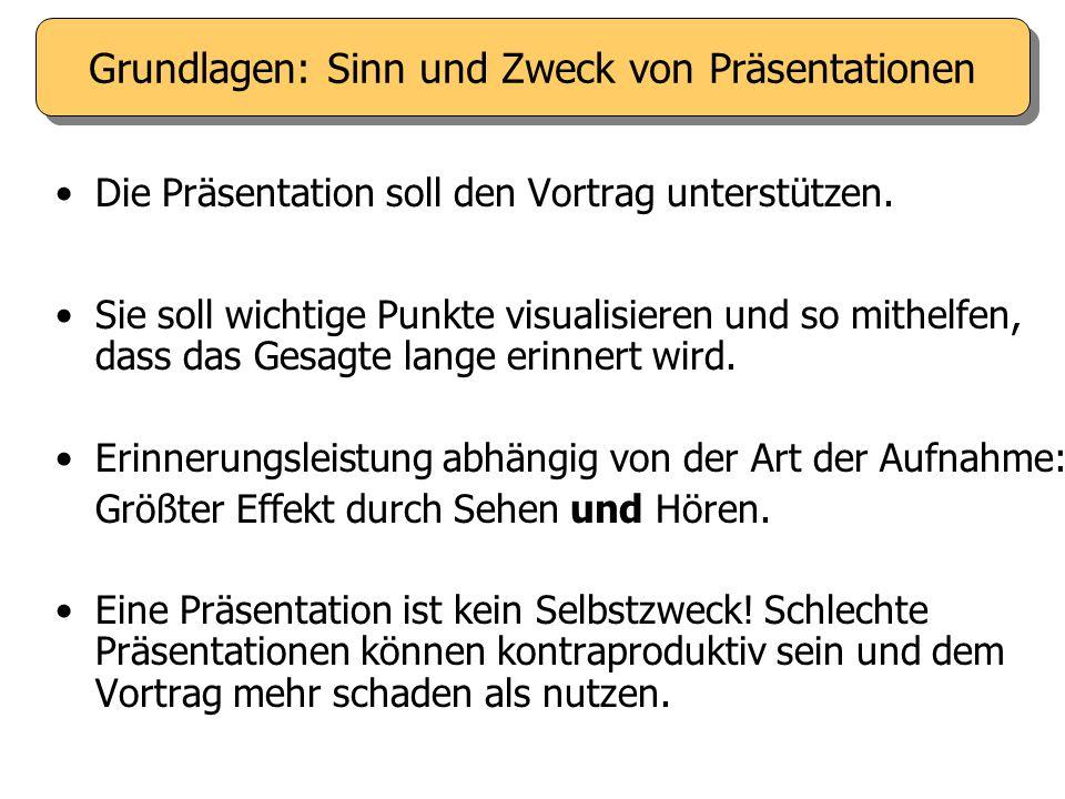 Die Präsentation soll den Vortrag unterstützen.