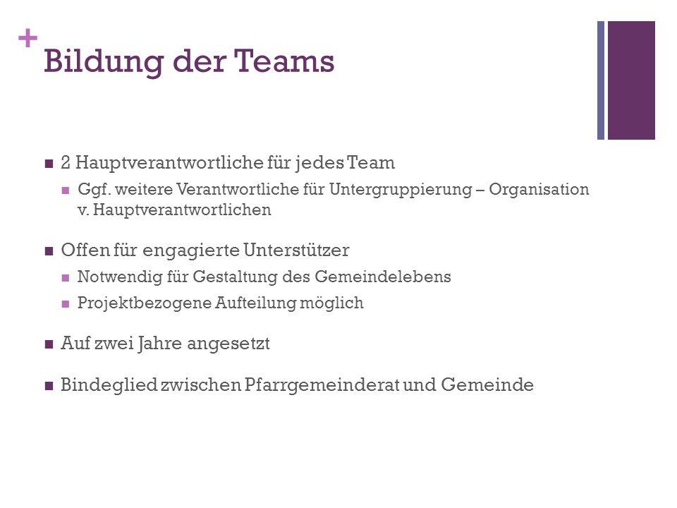 + Bildung der Teams 2 Hauptverantwortliche für jedes Team Ggf.