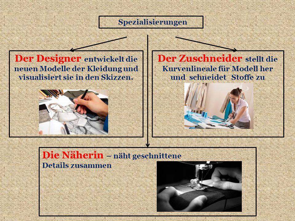 Spezialisierungen Der Designer entwickelt die neuen Modelle der Kleidung und visualisiert sie in den Skizzen.