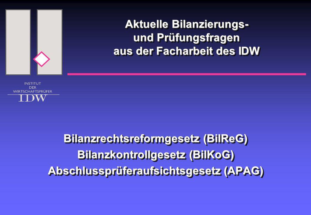 Aktuelle Bilanzierungs- und Prüfungsfragen aus der Facharbeit des IDW Bilanzrechtsreformgesetz (BilReG) Bilanzkontrollgesetz (BilKoG) Abschlussprüferaufsichtsgesetz (APAG) Bilanzrechtsreformgesetz (BilReG) Bilanzkontrollgesetz (BilKoG) Abschlussprüferaufsichtsgesetz (APAG)