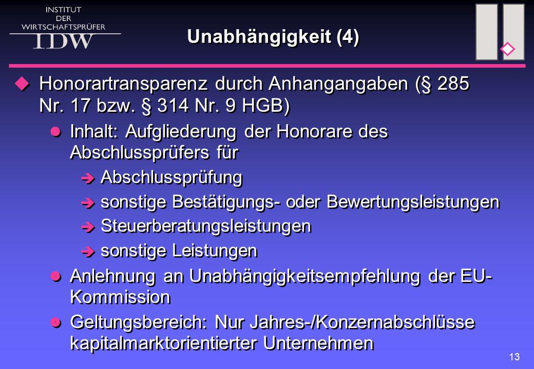 13 Unabhängigkeit (4)  Honorartransparenz durch Anhangangaben (§ 285 Nr.