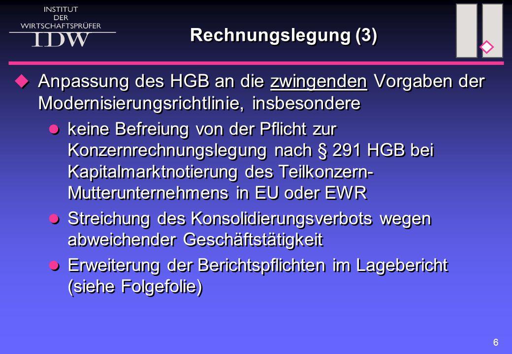 6 Rechnungslegung (3)  Anpassung des HGB an die zwingenden Vorgaben der Modernisierungsrichtlinie, insbesondere keine Befreiung von der Pflicht zur Konzernrechnungslegung nach § 291 HGB bei Kapitalmarktnotierung des Teilkonzern- Mutterunternehmens in EU oder EWR Streichung des Konsolidierungsverbots wegen abweichender Geschäftstätigkeit Erweiterung der Berichtspflichten im Lagebericht (siehe Folgefolie)  Anpassung des HGB an die zwingenden Vorgaben der Modernisierungsrichtlinie, insbesondere keine Befreiung von der Pflicht zur Konzernrechnungslegung nach § 291 HGB bei Kapitalmarktnotierung des Teilkonzern- Mutterunternehmens in EU oder EWR Streichung des Konsolidierungsverbots wegen abweichender Geschäftstätigkeit Erweiterung der Berichtspflichten im Lagebericht (siehe Folgefolie)