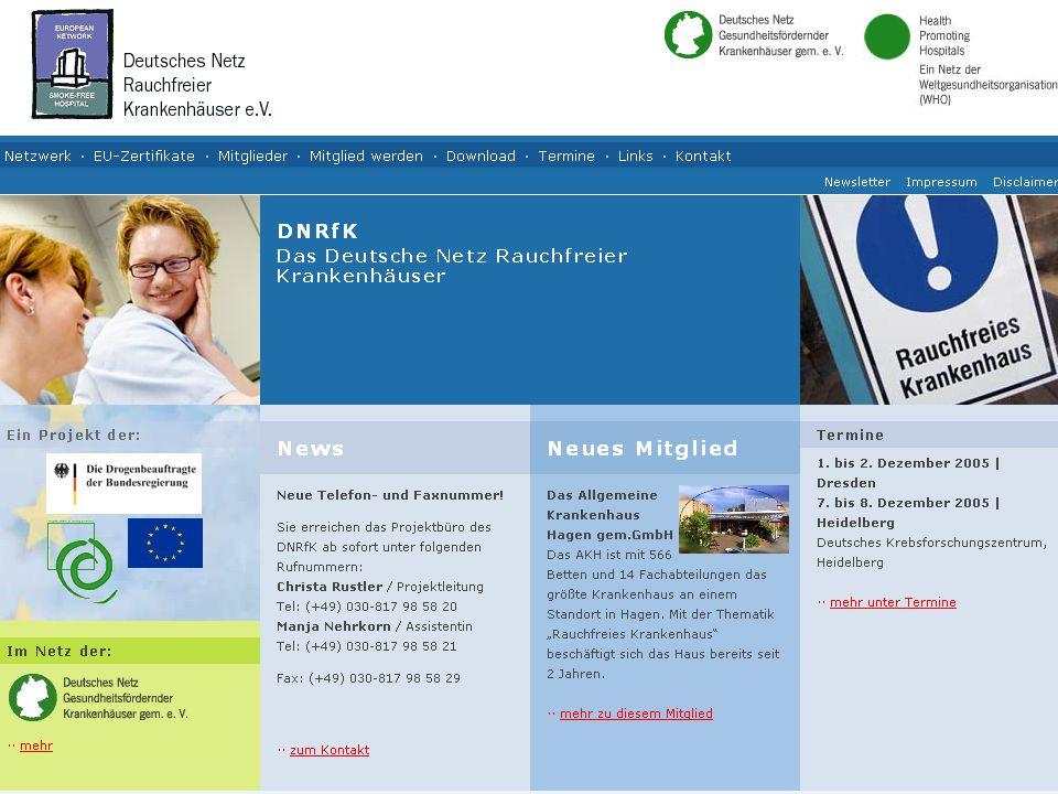 Das DNRfK aktuell… Workshop Rauchfreie Krankenhäuser 7.-8.