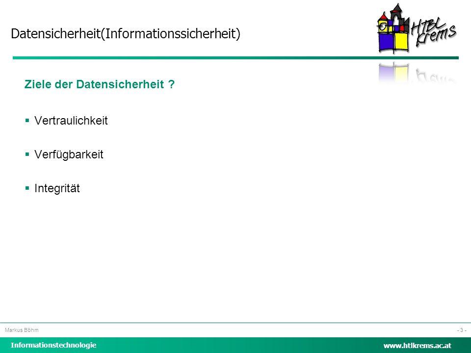 Datensicherheit(Informationssicherheit) Informationstechnologie Markus Böhm www.htlkrems.ac.at - 3 - Ziele der Datensicherheit ?  Vertraulichkeit  V