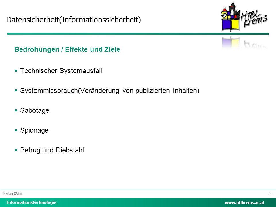 Datensicherheit(Informationssicherheit) Informationstechnologie Markus Böhm www.htlkrems.ac.at - 4 - Bedrohungen / Effekte und Ziele  Technischer Sys