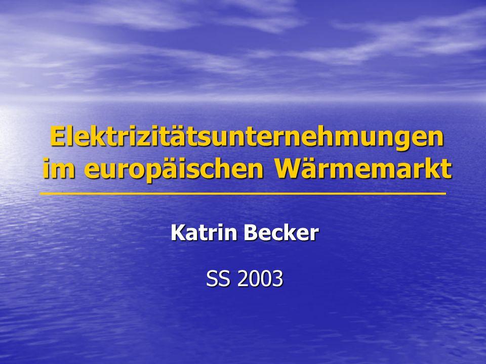 Elektrizitätsunternehmungen im europäischen Wärmemarkt Katrin Becker SS 2003