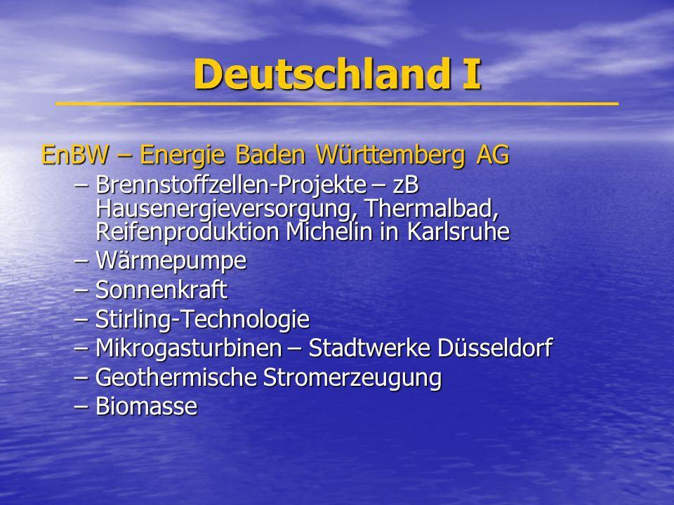 Deutschland I EnBW – Energie Baden Württemberg AG –Brennstoffzellen-Projekte – zB Hausenergieversorgung, Thermalbad, Reifenproduktion Michelin in Karlsruhe –Wärmepumpe –Sonnenkraft –Stirling-Technologie –Mikrogasturbinen – Stadtwerke Düsseldorf –Geothermische Stromerzeugung –Biomasse