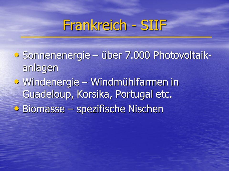 Frankreich - SIIF Sonnenenergie – über 7.000 Photovoltaik- anlagen Sonnenenergie – über 7.000 Photovoltaik- anlagen Windenergie – Windmühlfarmen in Guadeloup, Korsika, Portugal etc.