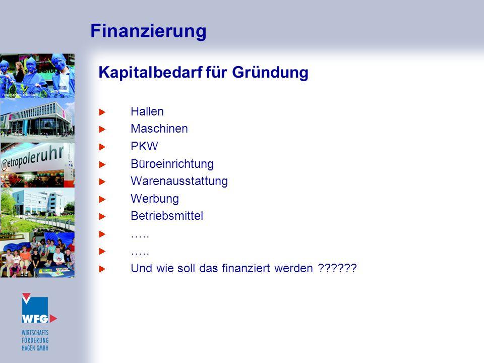 Finanzierung Kapitalbedarf für Gründung  Hallen  Maschinen  PKW  Büroeinrichtung  Warenausstattung  Werbung  Betriebsmittel  …..  Und wie sol