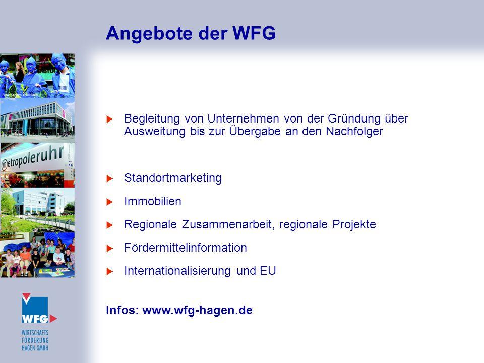 Angebote der WFG  Begleitung von Unternehmen von der Gründung über Ausweitung bis zur Übergabe an den Nachfolger  Standortmarketing  Immobilien  R