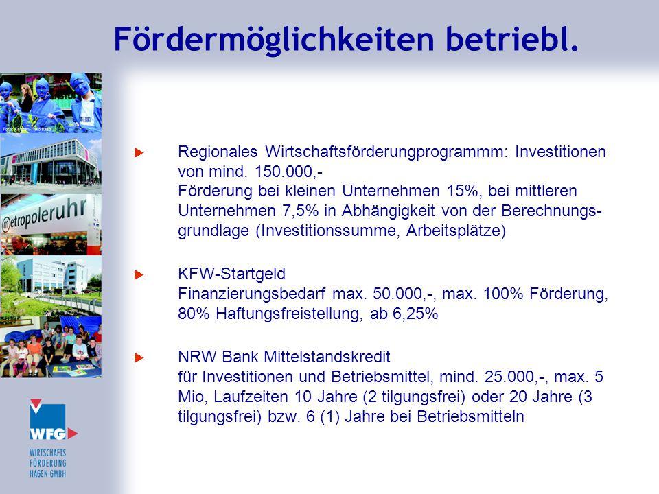 Fördermöglichkeiten betriebl.  Regionales Wirtschaftsförderungprogrammm: Investitionen von mind. 150.000,- Förderung bei kleinen Unternehmen 15%, bei