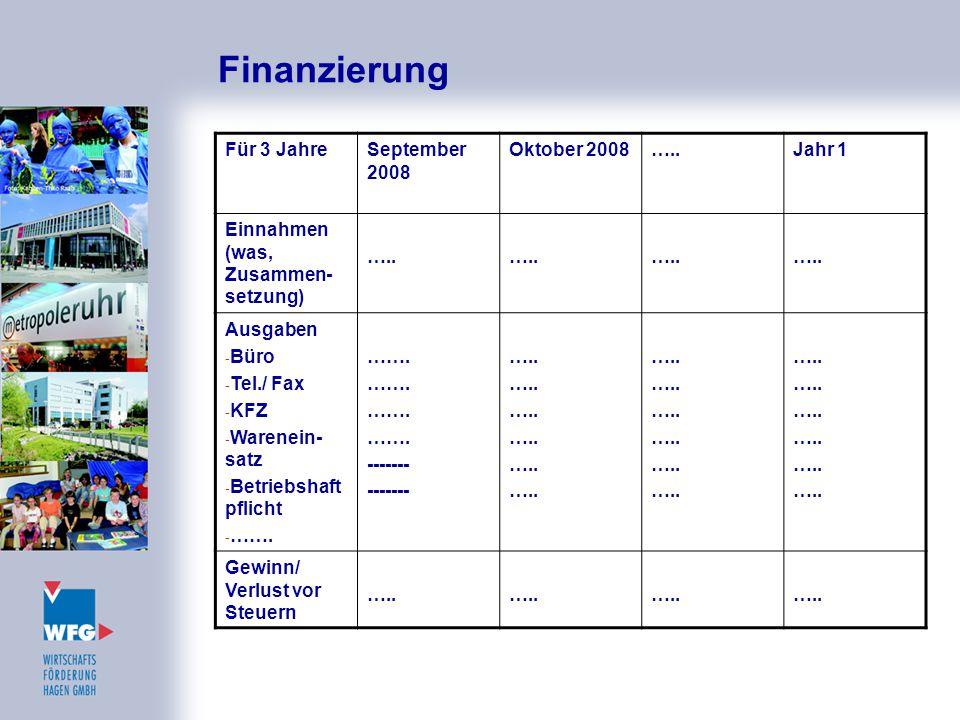 Finanzierung Für 3 JahreSeptember 2008 Oktober 2008…..Jahr 1 Einnahmen (was, Zusammen- setzung) ….. Ausgaben - Büro - Tel./ Fax - KFZ - Warenein- satz