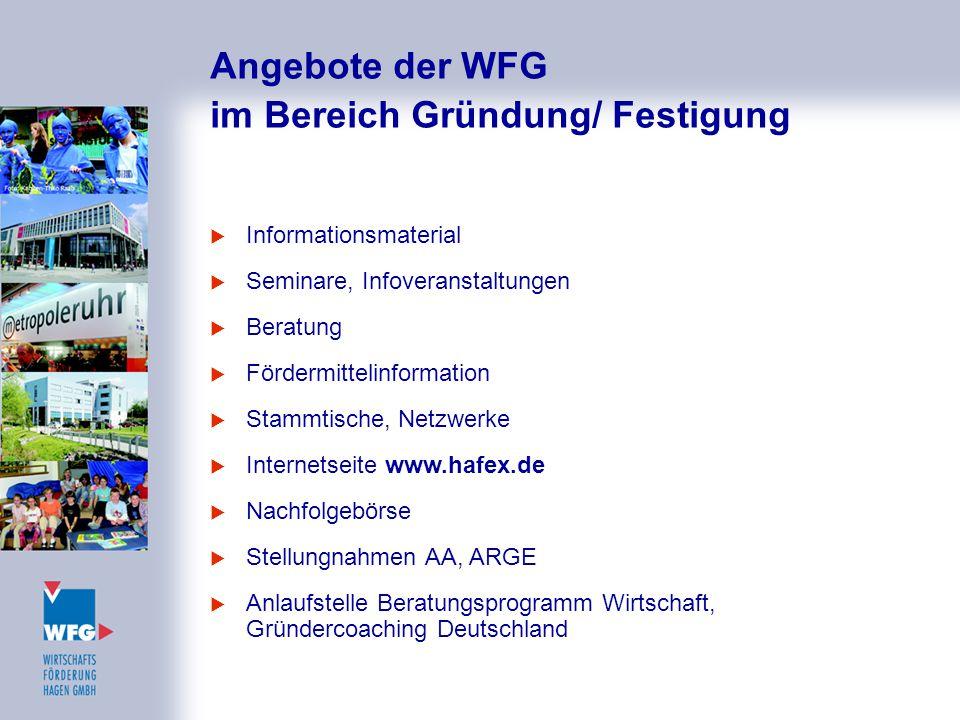 Angebote der WFG im Bereich Gründung/ Festigung  Informationsmaterial  Seminare, Infoveranstaltungen  Beratung  Fördermittelinformation  Stammtis
