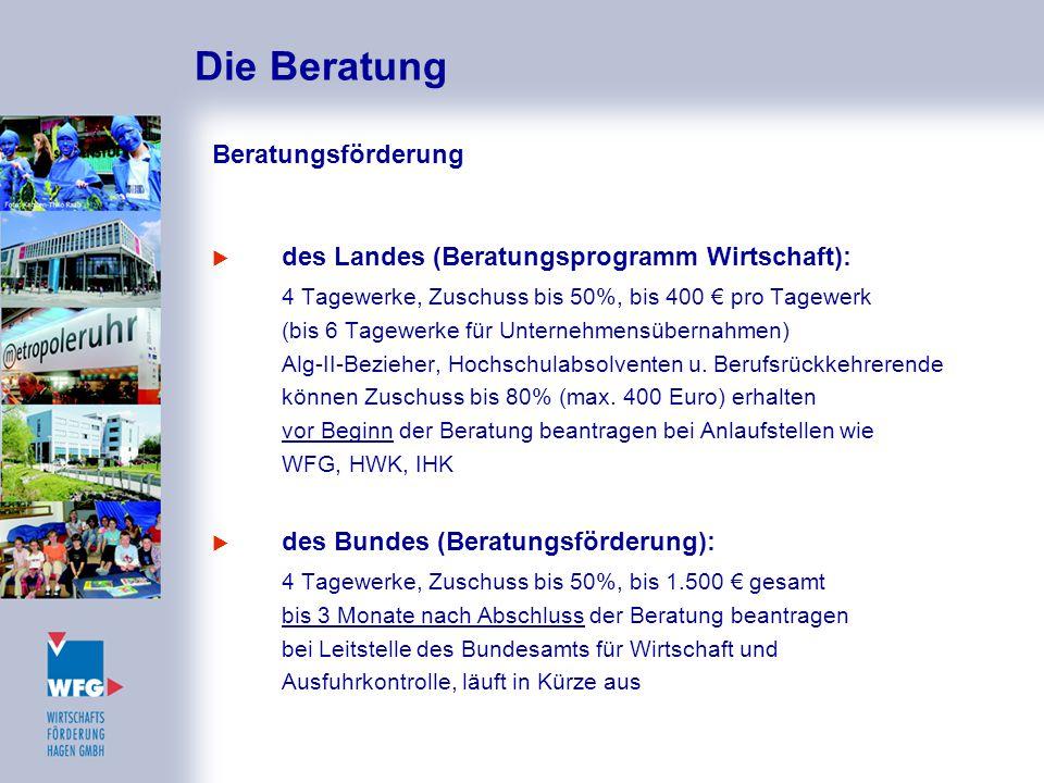 Die Beratung Beratungsförderung  des Landes (Beratungsprogramm Wirtschaft): 4 Tagewerke, Zuschuss bis 50%, bis 400 € pro Tagewerk (bis 6 Tagewerke fü