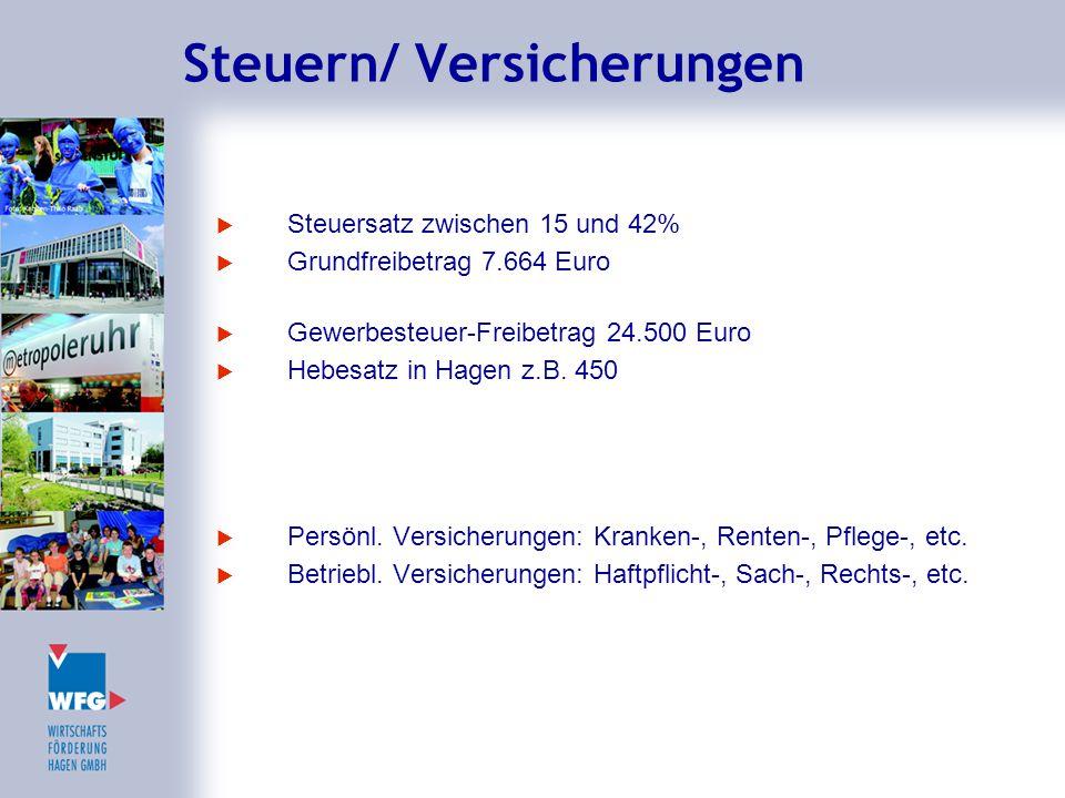 Steuern/ Versicherungen  Steuersatz zwischen 15 und 42%  Grundfreibetrag 7.664 Euro  Gewerbesteuer-Freibetrag 24.500 Euro  Hebesatz in Hagen z.B.