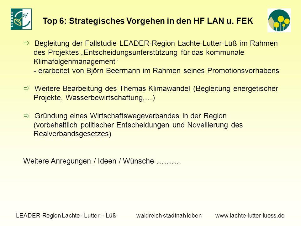 Top 6: Strategisches Vorgehen in den HF LAN u.