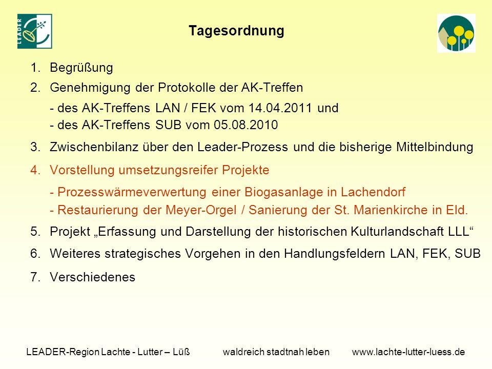 Tagesordnung 1.Begrüßung 2.Genehmigung der Protokolle der AK-Treffen - des AK-Treffens LAN / FEK vom 14.04.2011 und - des AK-Treffens SUB vom 05.08.2010 3.Zwischenbilanz über den Leader-Prozess und die bisherige Mittelbindung 4.Vorstellung umsetzungsreifer Projekte - Prozesswärmeverwertung einer Biogasanlage in Lachendorf - Restaurierung der Meyer-Orgel / Sanierung der St.