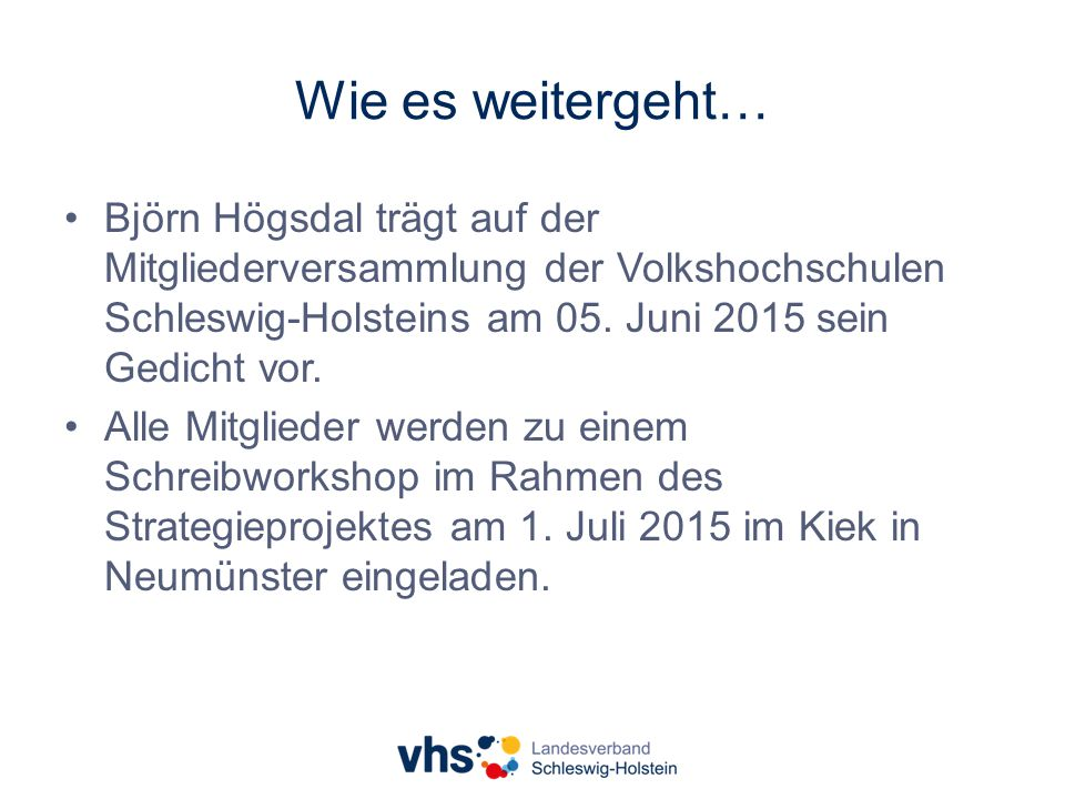 Wie es weitergeht… Björn Högsdal trägt auf der Mitgliederversammlung der Volkshochschulen Schleswig-Holsteins am 05.