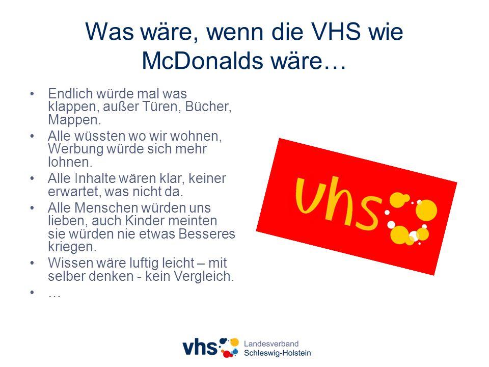 Was wäre, wenn die VHS wie McDonalds wäre… Endlich würde mal was klappen, außer Türen, Bücher, Mappen.