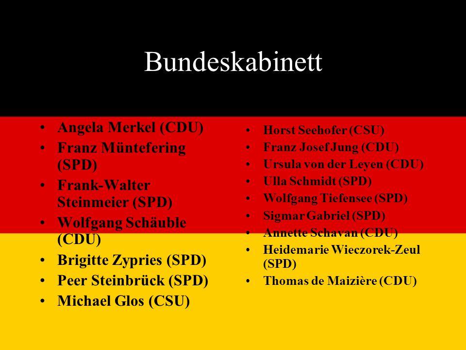 Bundeskabinett Angela Merkel (CDU) Franz Müntefering (SPD) Frank-Walter Steinmeier (SPD) Wolfgang Schäuble (CDU) Brigitte Zypries (SPD) Peer Steinbrück (SPD) Michael Glos (CSU) Horst Seehofer (CSU) Franz Josef Jung (CDU) Ursula von der Leyen (CDU) Ulla Schmidt (SPD) Wolfgang Tiefensee (SPD) Sigmar Gabriel (SPD) Annette Schavan (CDU) Heidemarie Wieczorek-Zeul (SPD) Thomas de Maizière (CDU)