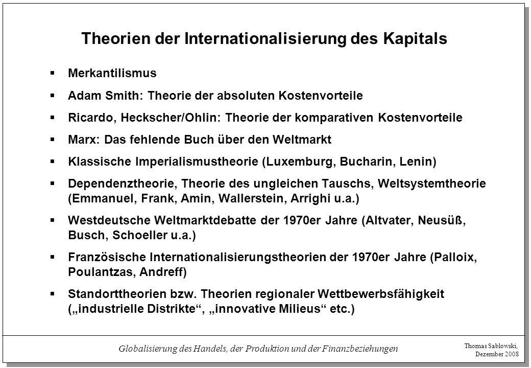 Thomas Sablowski, Dezember 2008 Globalisierung des Handels, der Produktion und der Finanzbeziehungen Theorien der Internationalisierung des Kapitals 