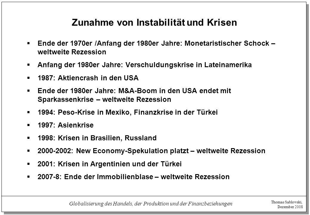 Thomas Sablowski, Dezember 2008 Globalisierung des Handels, der Produktion und der Finanzbeziehungen Zunahme von Instabilität und Krisen  Ende der 19