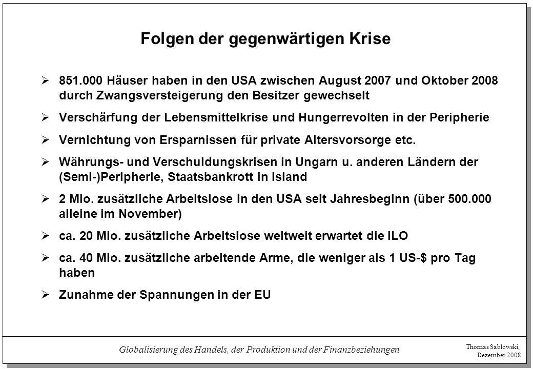 Thomas Sablowski, Dezember 2008 Globalisierung des Handels, der Produktion und der Finanzbeziehungen Folgen der gegenwärtigen Krise  851.000 Häuser h