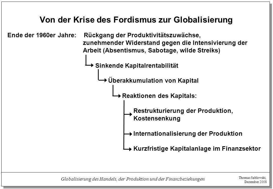 """Thomas Sablowski, Dezember 2008 Globalisierung des Handels, der Produktion und der Finanzbeziehungen Globalisierung als Ideologie und realer Prozess  Verstärkter Druck auf Löhne und Arbeitsbedingungen – nicht nur durch Globalisierung:  (""""technologische ) Massenarbeitslosigkeit  Neoliberale Wirtschafts- und Sozialpolitik  Verändertes Verhältnis von finanziellem und industriellem Kapital  Strukturwandel der Produktion (Outsourcing etc.) - auch unabhängig von der Internationalisierung  Internationalisierung der Produktion:  Direktinvestitionen zwischen den kapitalistischen Zentren zur Markterschließung  Internationale Konzentration und Zentralisation des Kapitals  Partielle Industrialisierung der Peripherie, Nutzung von Niedriglohnstandorten durch transnationale Konzerne  Droheffekte"""