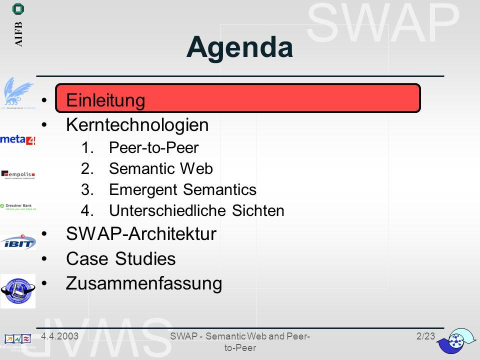 SWAP 4.4.2003SWAP - Semantic Web and Peer- to-Peer 13/23 4.