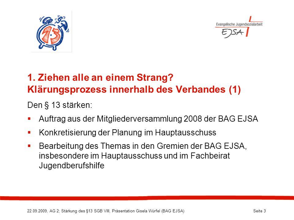 22.09.2009, AG 2; Stärkung des §13 SGB VIII, Präsentation Gisela Würfel (BAG EJSA) Seite 3 1.