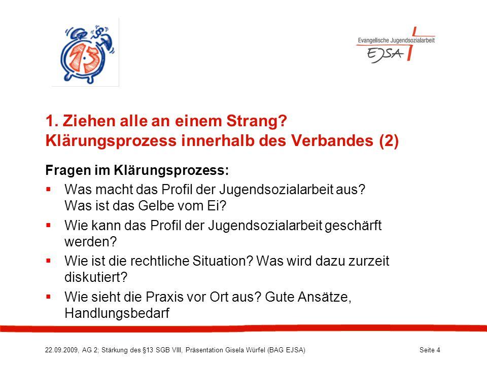22.09.2009, AG 2; Stärkung des §13 SGB VIII, Präsentation Gisela Würfel (BAG EJSA) Seite 4 1.