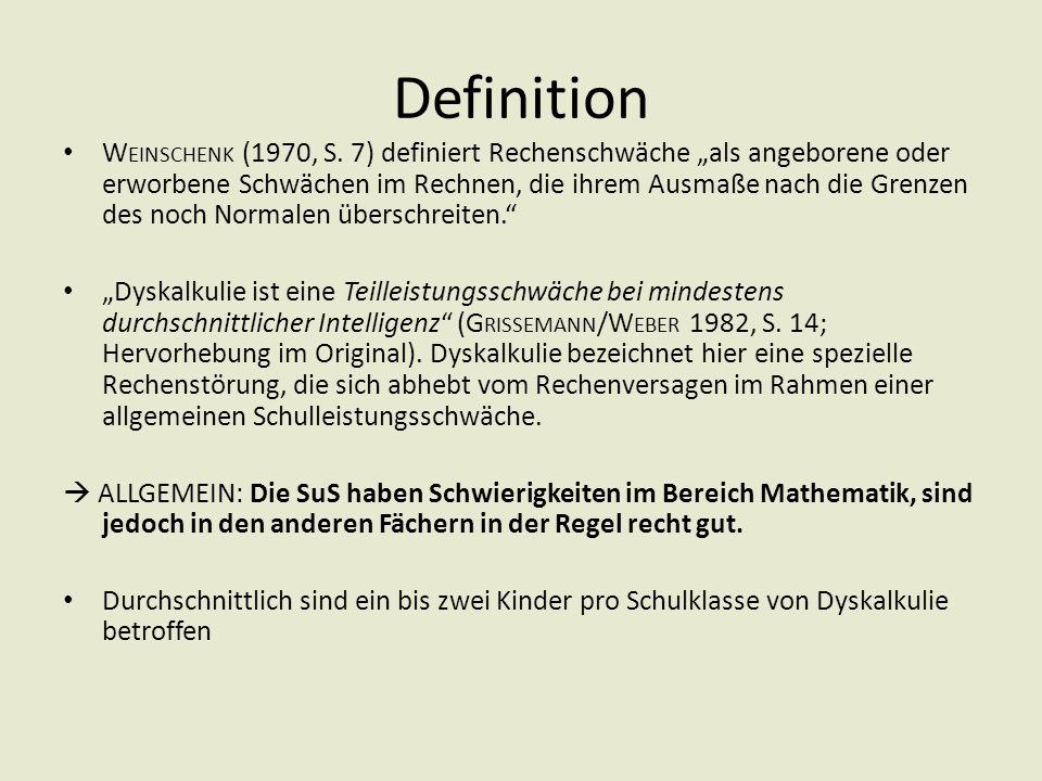 """Definition W EINSCHENK (1970, S. 7) definiert Rechenschwäche """"als angeborene oder erworbene Schwächen im Rechnen, die ihrem Ausmaße nach die Grenzen d"""