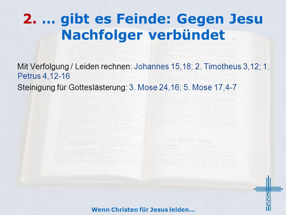 2. … gibt es Feinde: Gegen Jesu Nachfolger verbündet Mit Verfolgung / Leiden rechnen: Johannes 15,18; 2. Timotheus 3,12; 1. Petrus 4,12-16 Steinigung