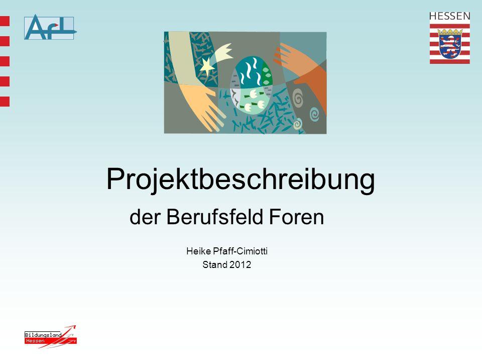 Projektbeschreibung der Berufsfeld Foren Heike Pfaff-Cimiotti Stand 2012