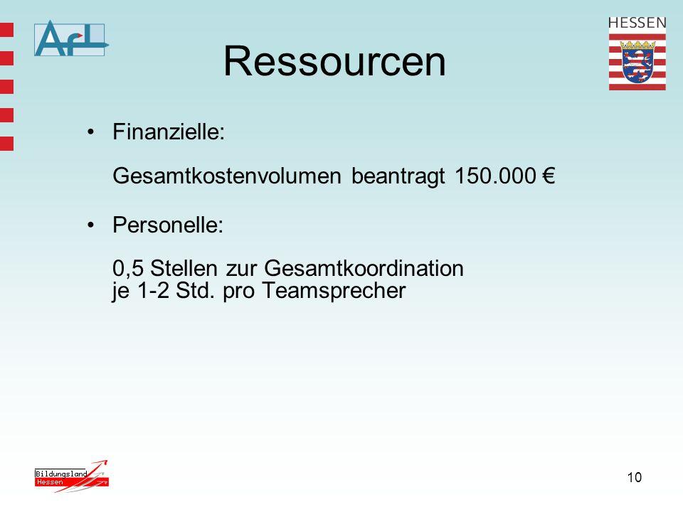 10 Ressourcen Finanzielle: Gesamtkostenvolumen beantragt 150.000 € Personelle: 0,5 Stellen zur Gesamtkoordination je 1-2 Std. pro Teamsprecher