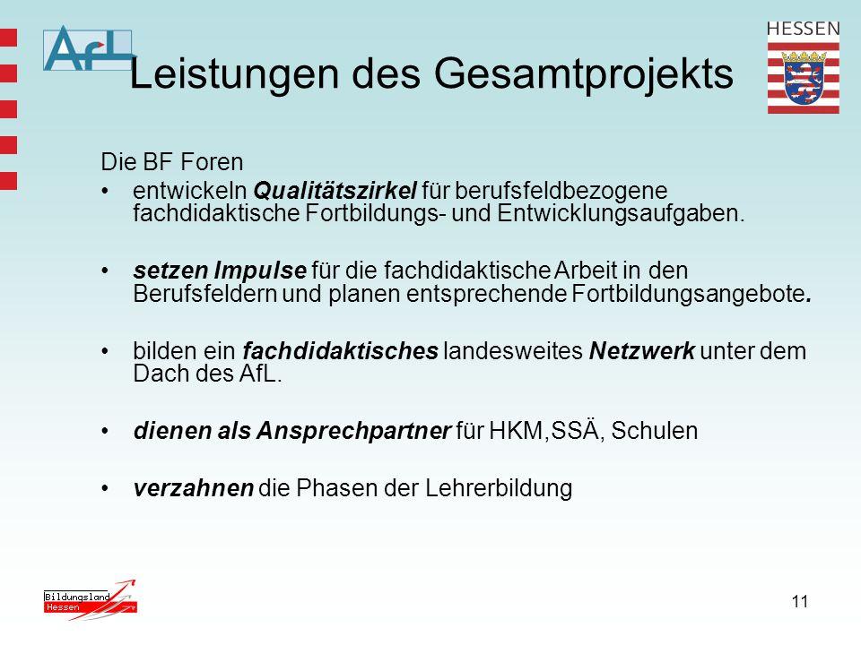 11 Leistungen des Gesamtprojekts Die BF Foren entwickeln Qualitätszirkel für berufsfeldbezogene fachdidaktische Fortbildungs- und Entwicklungsaufgaben